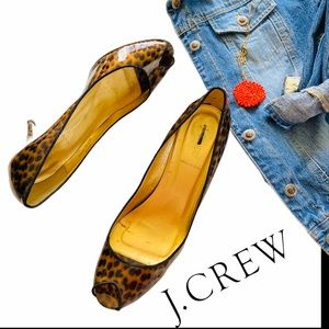 J. Crew Italy patent leather animal peep toe pumps